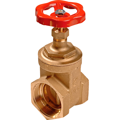 Gate valve for liquids and gases. Non rising stem. Strong red coated steel hand wheel. Female threads acording to DIN 2999. Low pressure drop.