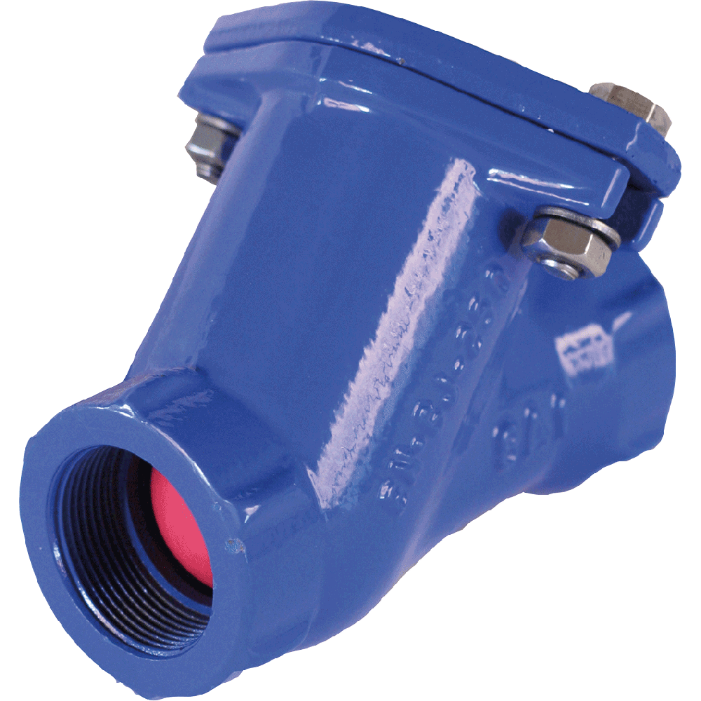 Ball check valve for pumping stations for clean, sewage water, and loaded or viscous fluids. Full bore. Self cleaning ball. Low pressure drop. Silent.