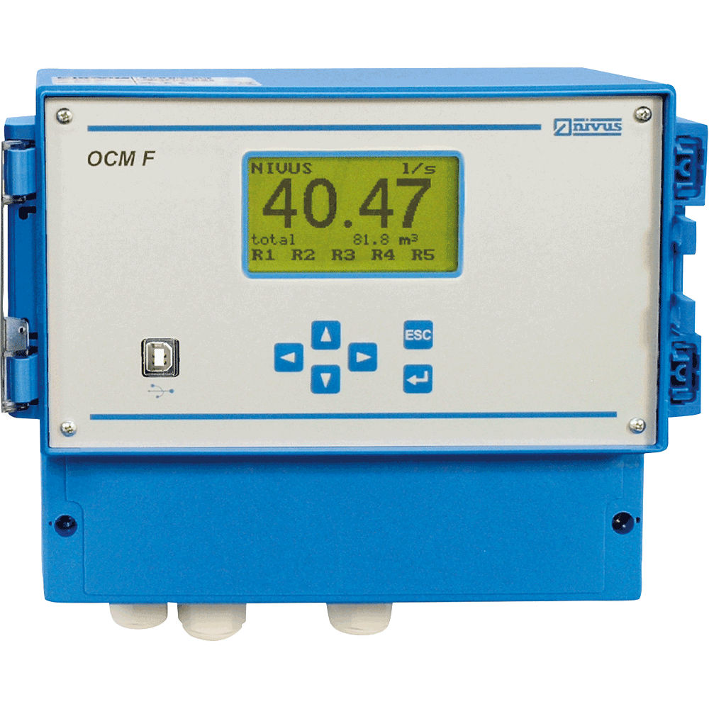 Flow metering system, utilizes a full bidirectional ultrasonic velocity sensor. Level measurement can be carried out either by a sensor-integrated pressure cell or by using an external sensor.