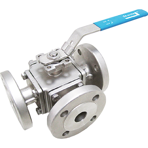 3-way multiport ball valve for liquids, steam, and gases. L-drilled ball or T-drilled ball. Full bore. Easy seat and packing replacement. ISO 5211 mounting flange.