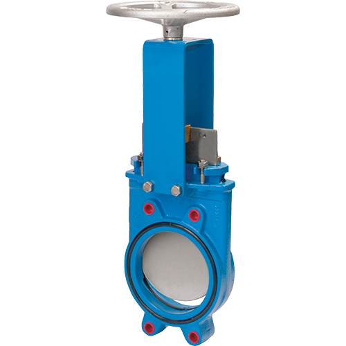 Knife gate valve with non-rising stem for wastewater treatment plants, chemical plans, food and beverage etc. Full port design for greater flow capacity and minimal pressure drop.