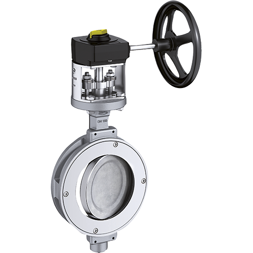 Ebro high performance double acting eccentric butterfly valve. One-piece body design. For shut-off and control service. Mounting pad according to ISO 5211.