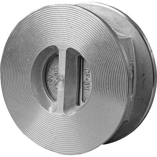 Dual plate check valve for liquids and gases. Wafer body for mounting between flanges.