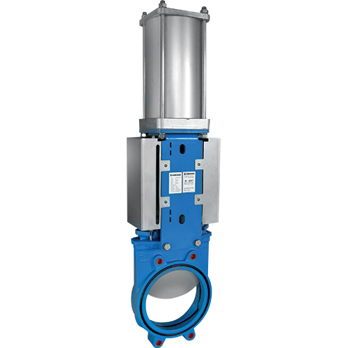 Knife gate valve with mounted actuator with non-rising stem for water, sewage water, sludge etc. Soft sealing. Full port design for greater flow capacity and minimal pressure drop.