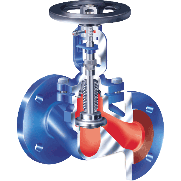 ARI globe valve with bellows seal for liquids, steam, and gases. Non-rising hand wheel.