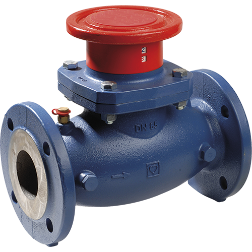 Balancing valve with measuring valves for hydraulic balancing in heating and cooling systems, adjustment of distribution mains, circuits, heat exchangers, heating and cooling registers, etc.