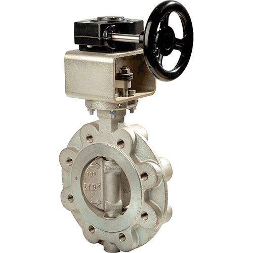 Ebro high performance double acting eccentric butterfly valve. Lug-type. One-piece body design. For shut-off and control service. Mounting pad according to ISO 5211. Face-to-face design.