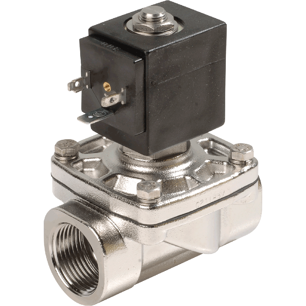 Combined operation solenoid valve for mineral oils, gasoline, gases, and oil.