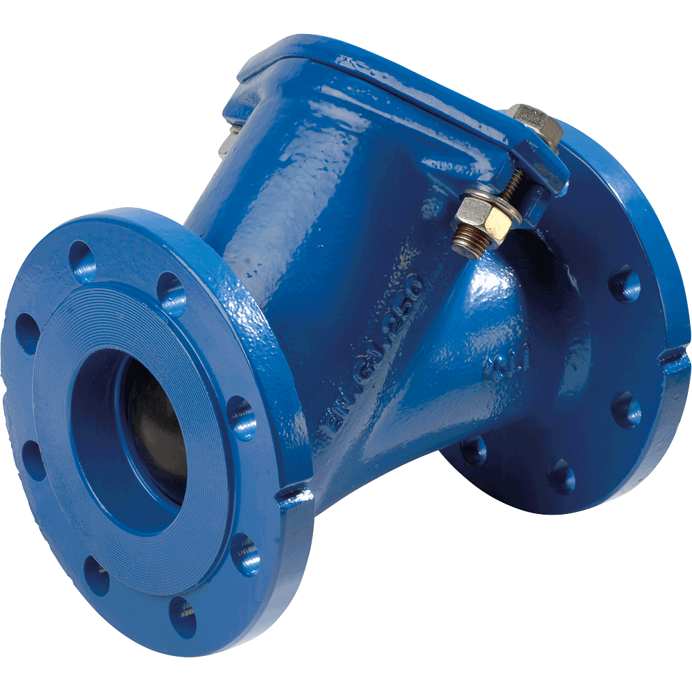 Ball check valve for pumping stations for clean, sewage water, and loaded or viscous fluids. Full bore. Self cleaning ball. Low pressure drop. Silent. DN 65-100 in cast iron.