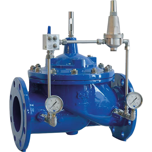 Hydraulic control valve, diaphragm  actuated, control valve that reduces an upstream pressure to a constant downstream pressure regardless of flow rate variations.