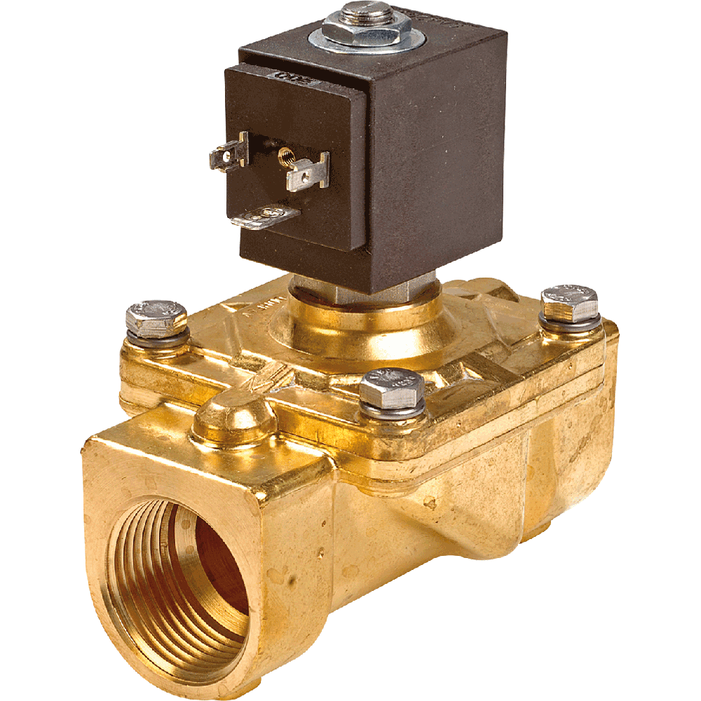 Combined operation solenoid valve for water, air, and gases.