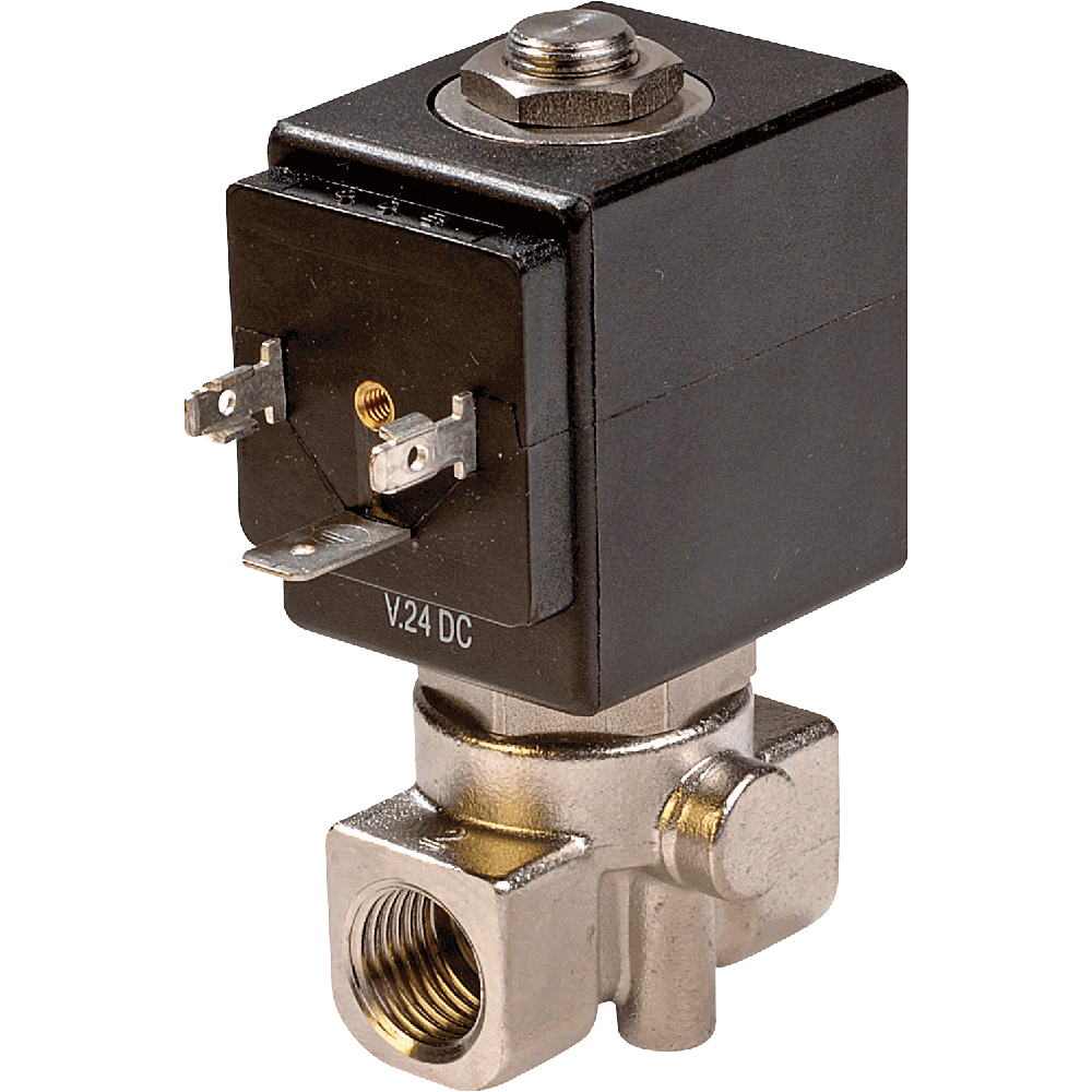 Direct acting solenoid valve for aggressive media.