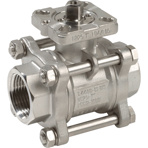 3-piece ball valve for liquids, steam, and gases. Anti-static device. Full bore. Self-adjusting stem packing assembly with Belleville spring. Mounting pad for double acting actuator and spring return actuator.