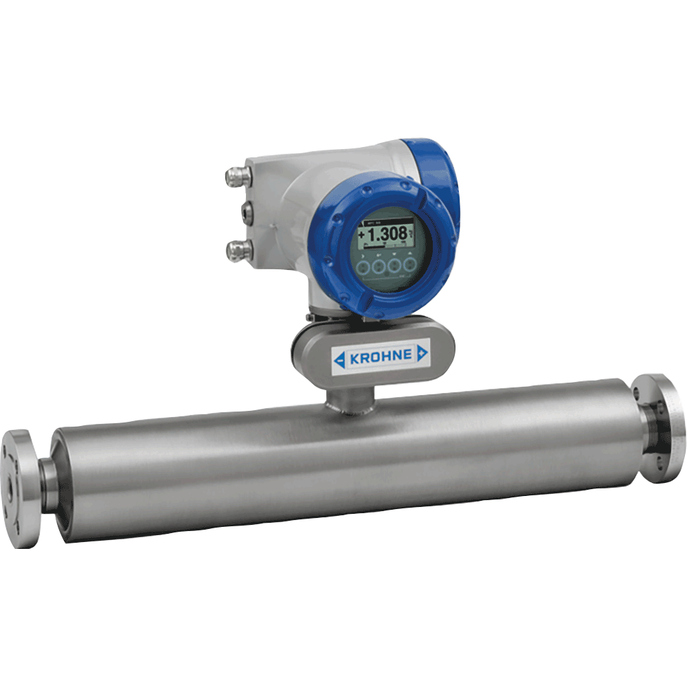 Mass flowmeter used for viscous or shear-sensitive products, products requiring low flow velocities, non-homogeneous mixtures, products with entrained solids or gas, custody transfer, loading and product transfer measurement, slurries, and highly corrosive fluids.