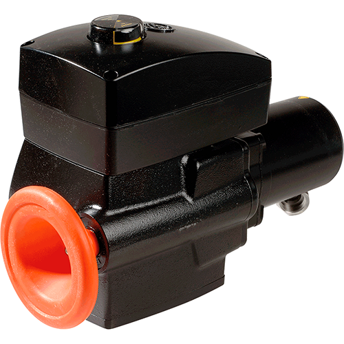 Electric actuator for valves with 90 degrees turning angle. Mechanical position indicator disc for an optical control of the valve´s position. Handwheel enables immediate hand emergency operation. Long life service by continuous lubrication.