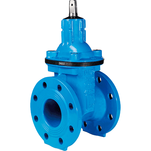 Gate valve for water supply and distribution, waste water treatment and sewage. Wedge fully rubber lined with NBR. Soft sealing. Non rising stem.