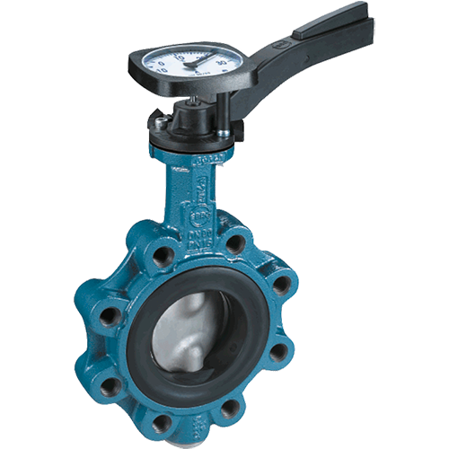 Ebro butterfly valve ready to accept thermometers, electronic thermo sensors (PT 100), or a system identification plate. Designed to be mounted between flanges according to DIN 2501.