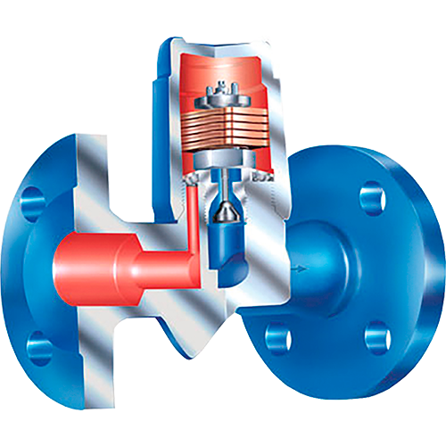 Bimetallic steam trap for discharging of slight to highly sub-cooled condensate. Automatic air-venting during start up and operation of the plant. Robust and resistant to water-hammer.<br />