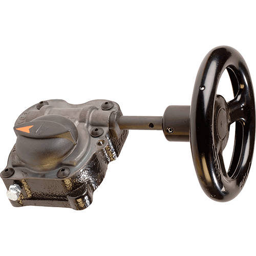 Turn gearbox for Ebro butterfly valves. All rotation parts are grease lubricated for life. Output torques have a safety factor which allows the actuator to withstand occasional overloads of twice the rated torque.