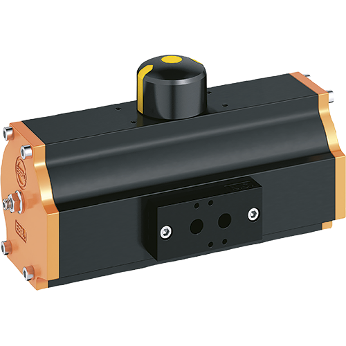EBRO 90º pneumatic actuator in double piston design. Position indication. Permanently lubricated and maintenance free. Mounting flange drilled according to ISO 5211. Control block according to Namur.