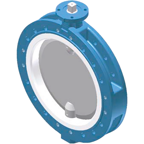 Ebro butterfly valve for corrosive and aggressive media. Split body design. Internally completely covered by an exchangeable liner.