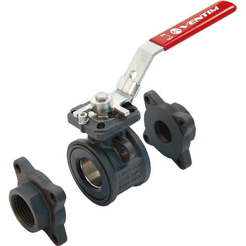 3-piece ball valve for liquids, steam, and gases. Anti-static device. Full bore.