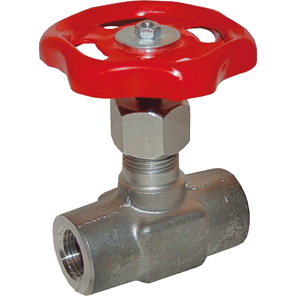 Needle valve suitable for liquids, steam, and gases. Body and bonnet made in one piece. Maintenance free. Easy to operate.