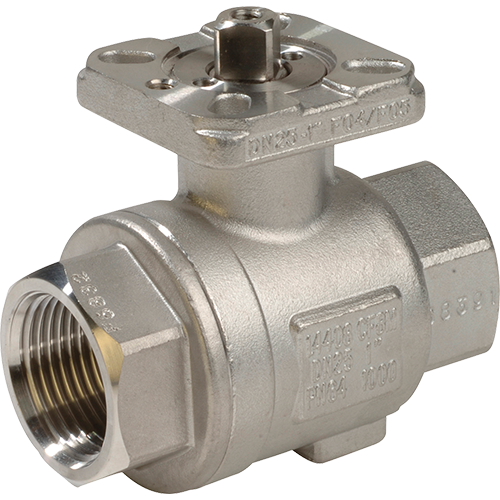 Ball valve for liquids, steam and gases. Direct mounting pad according to ISO 5211. Adjustable stuffing box. Full bore. Floating ball design.