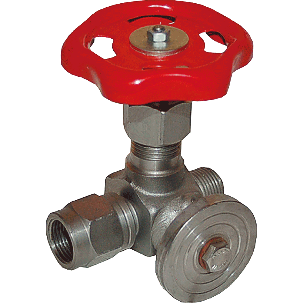 Control manometer valve suitable for liquids, steam, and gases. Body and bonnet made in one piece. Connection device for mounting of pressure meter. Maintenance free. Easy to operate.