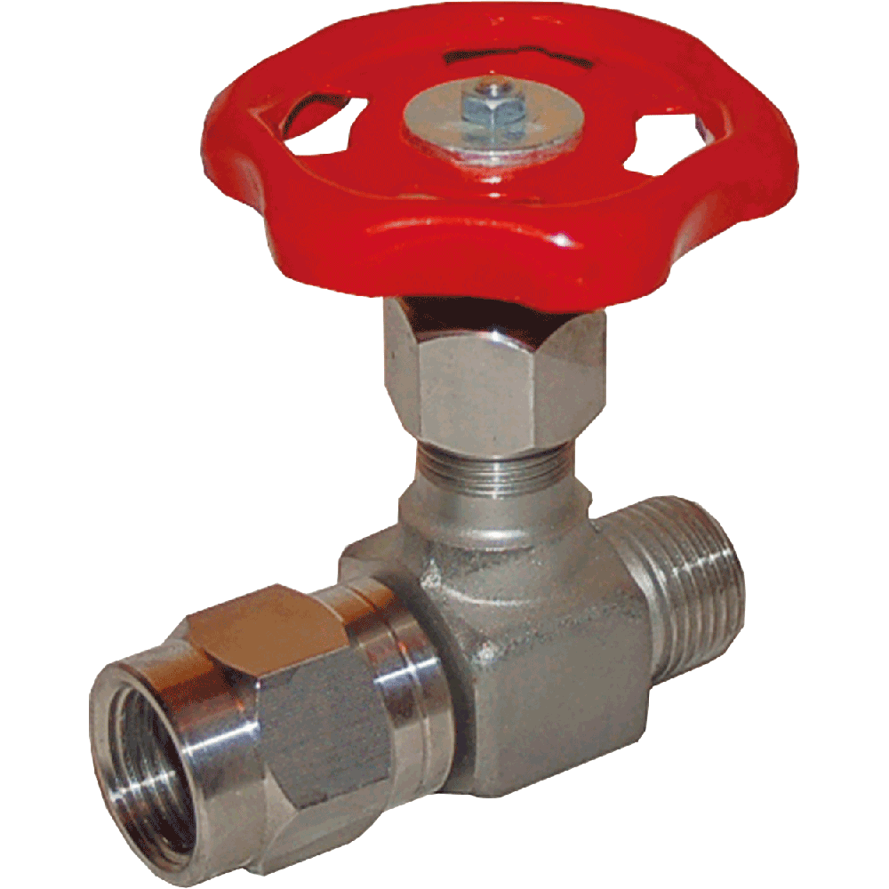 Manometer valve suitable for liquids, steam, and gases. Body and bonnet made in one piece. Maintenance free. Easy to operate.