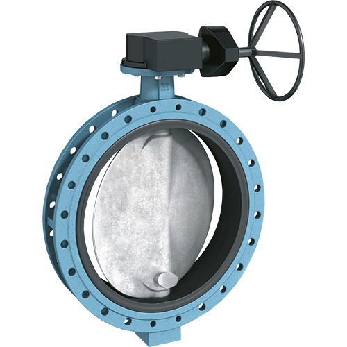 Ebro double flanged butterfly valve with short construction length to be used in heavy duty applications. Mounting flange according to ISO 5211.